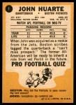 1967 Topps #1  John Huarte  Back Thumbnail