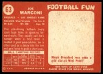 1958 Topps #63  Joe Marconi  Back Thumbnail