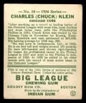 1934 Goudey #10  Chuck Klein  Back Thumbnail