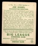 1934 Goudey #16  Joe Kuhel  Back Thumbnail