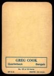1970 Topps Glossy #23  Greg Cook  Back Thumbnail