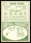 1968 Topps #63  John Hadl  Back Thumbnail