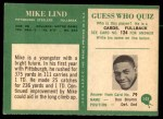 1966 Philadelphia #152  Mike Lind  Back Thumbnail
