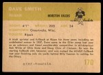 1961 Fleer #170  Dave Smith  Back Thumbnail