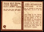 1967 Philadelphia #8  Jerry Richardson  Back Thumbnail