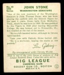 1934 Goudey #40  John Stone  Back Thumbnail
