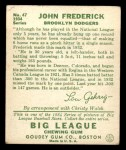 1934 Goudey #47  John Frederick  Back Thumbnail