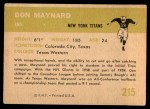 1961 Fleer #215  Don Maynard  Back Thumbnail