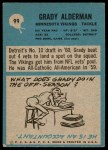 1964 Philadelphia #99  Grady Alderman  Back Thumbnail