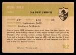 1961 Fleer #162  Ron Mix  Back Thumbnail