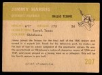 1961 Fleer #207  Jimmy Harris  Back Thumbnail