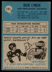 1964 Philadelphia #121  Dick Lynch   Back Thumbnail