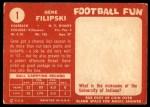 1958 Topps #1  Gene Filipski  Back Thumbnail