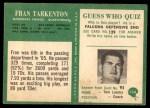1966 Philadelphia #114  Fran Tarkenton  Back Thumbnail