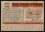 1956 Topps #109  Dale Atkeson  Back Thumbnail