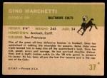 1961 Fleer #37  Gino Marchetti  Back Thumbnail
