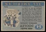1955 Topps #54  Eddie Dooley  Back Thumbnail