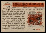 1956 Topps #105  Mike McCormack  Back Thumbnail