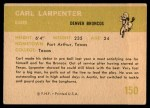 1961 Fleer #150  Carl Larpenter  Back Thumbnail
