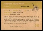 1961 Fleer #202  Johnny Robinson  Back Thumbnail