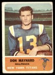 1962 Fleer #59  Don Maynard  Front Thumbnail
