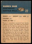 1962 Fleer #22  Warren Raab  Back Thumbnail