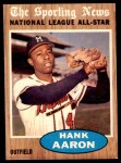 1962 Topps #394   -  Hank Aaron All-Star Front Thumbnail