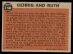 1962 Topps #140 NRM Babe Ruth / Lou Gehrig  Back Thumbnail