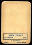 1970 Topps Glossy #2  Johnny Unitas  Back Thumbnail