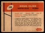 1960 Fleer #109  Doug Cline  Back Thumbnail