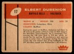 1960 Fleer #17  Elbert Dubenion  Back Thumbnail