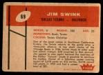 1960 Fleer #69  Jim Swink  Back Thumbnail