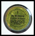 1971 Topps Coins #3  Jim Bunning  Back Thumbnail