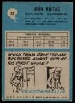 1964 Philadelphia #12  Johnny Unitas  Back Thumbnail