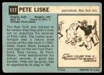 1964 Topps #117  Pete Liske  Back Thumbnail
