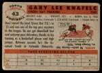1956 Topps #43  Gary Knafelc  Back Thumbnail