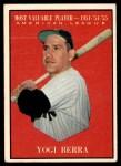 1961 Topps #472   -  Yogi Berra Most Valuable Player Front Thumbnail