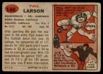 1957 Topps #146  Paul Larson  Back Thumbnail
