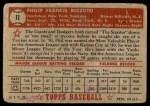1952 Topps #11  Phil Rizzuto  Back Thumbnail