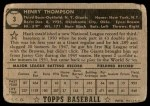 1952 Topps #3  Hank Thompson  Back Thumbnail