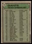 1979 Topps #356   -  Joe Altobelli Giants Team Checklist Back Thumbnail