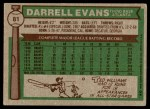 1976 Topps #81  Darrell Evans  Back Thumbnail