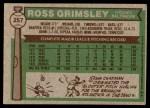 1976 Topps #257  Ross Grimsley  Back Thumbnail