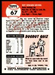 1991 Topps 1953 Archives #67  Roy Sievers  Back Thumbnail
