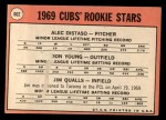 1969 Topps #602 *ERR*  -  Alec Distaso / Don Young / Jim Qualls  Cubs Rookies Back Thumbnail