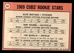 1969 Topps #602 *xVIS*  -  Alec Distaso / Don Young / Jim Qualls  Cubs Rookies Back Thumbnail