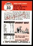 1953 Topps Archives #33  Bob Kennedy  Back Thumbnail