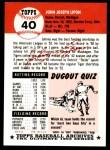1991 Topps 1953 Archives #40  John Lipon  Back Thumbnail