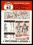 1991 Topps 1953 Archives #63  Gus Niarhos  Back Thumbnail