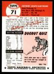 1991 Topps 1953 Archives #71  Tony Bartirome  Back Thumbnail